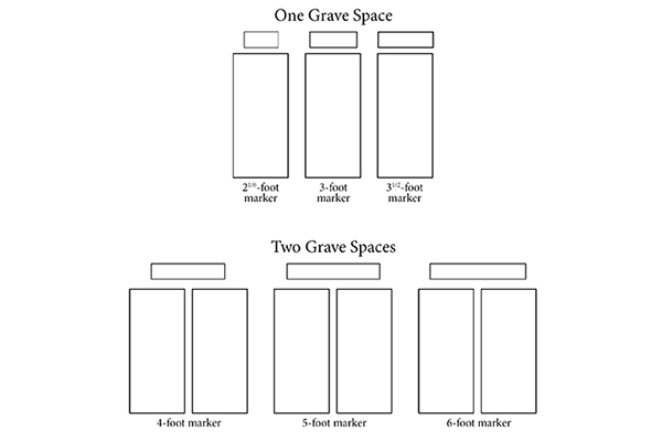 sizes of cemetery marker