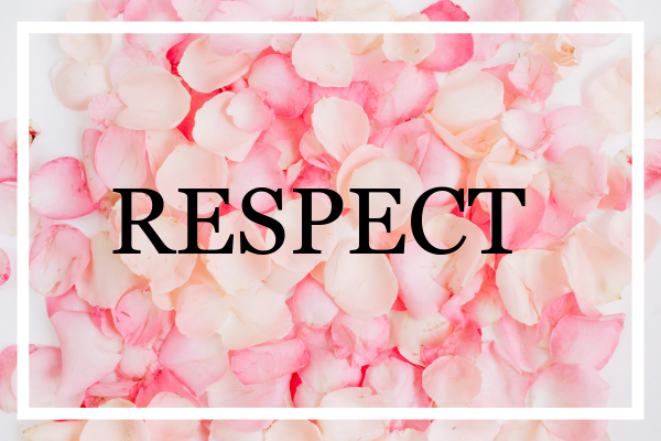Respect word on roses